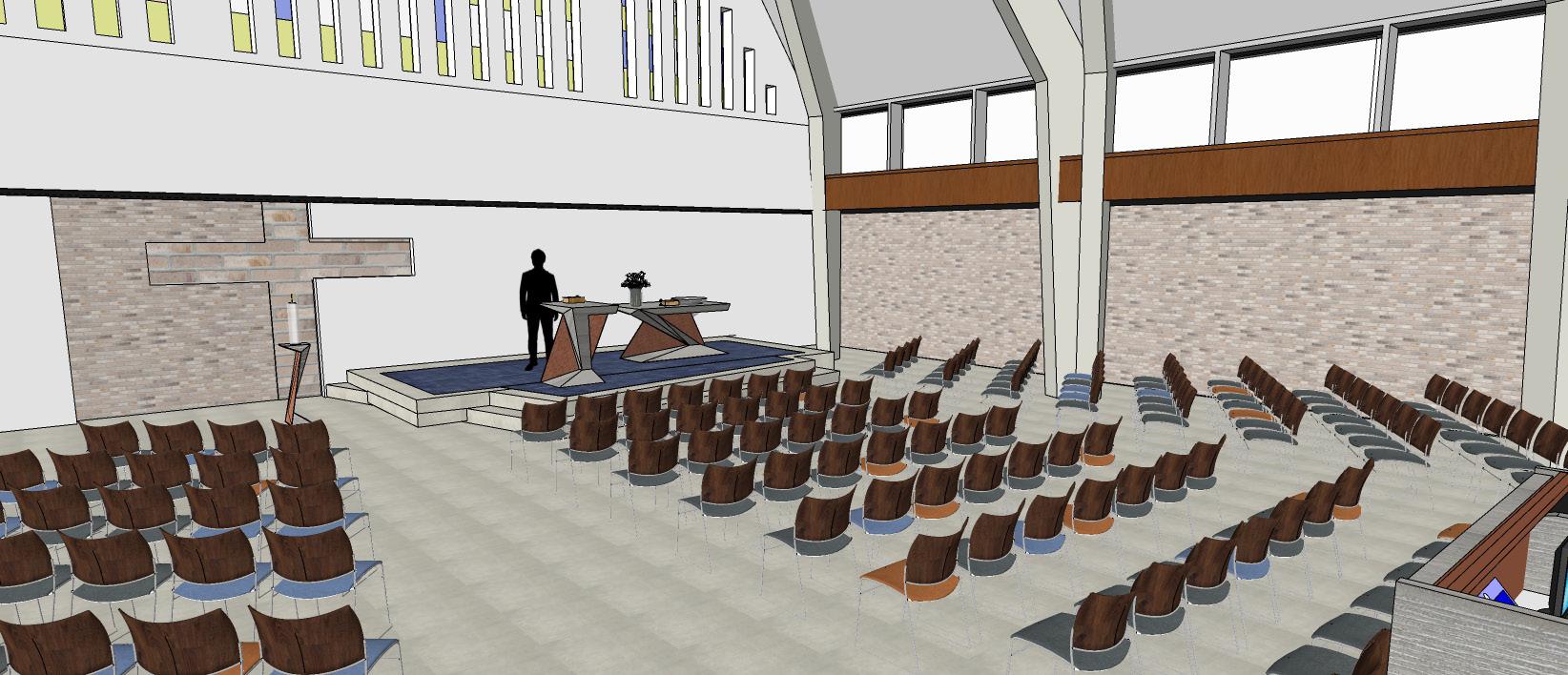 Impressie van de vernieuwde kerkzaal